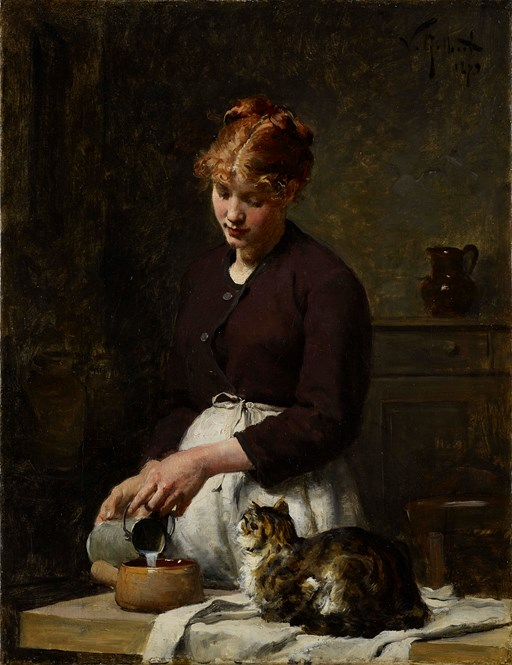 Victor Gilbert (1847-1935) Le déjeuner du chat,  oil on canvas, 35 x 27 cm. signed & dated 1879